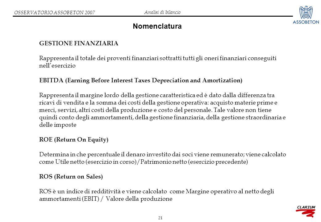 21 OSSERVATORIO ASSOBETON 2007 Nomenclatura GESTIONE FINANZIARIA Rappresenta il totale dei proventi finanziari sottratti tutti gli oneri finanziari co