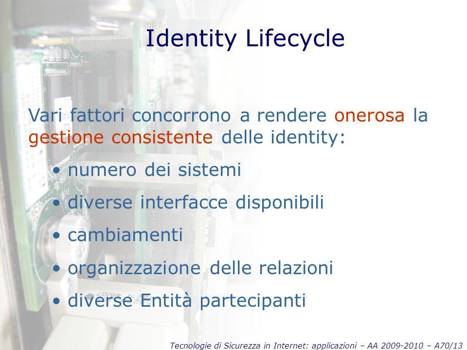 Tecnologie di Sicurezza in Internet: applicazioni – AA 2009-2010 – A70/13 Identity Lifecycle Vari fattori concorrono a rendere onerosa la gestione consistente delle identity: numero dei sistemi diverse interfacce disponibili cambiamenti organizzazione delle relazioni diverse Entità partecipanti