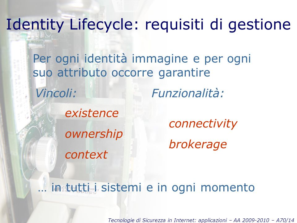 Tecnologie di Sicurezza in Internet: applicazioni – AA 2009-2010 – A70/14 Identity Lifecycle: requisiti di gestione Per ogni identità immagine e per ogni suo attributo occorre garantire … in tutti i sistemi e in ogni momento existence ownership context connectivity brokerage Vincoli:Funzionalità: