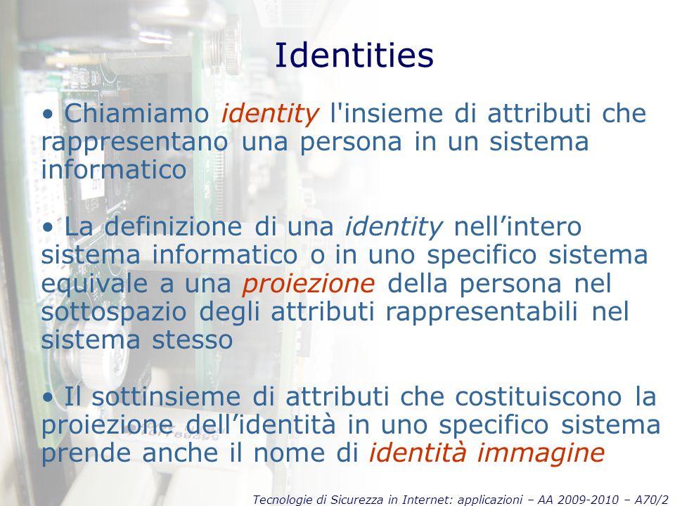 Tecnologie di Sicurezza in Internet: applicazioni – AA 2009-2010 – A70/2 Identities Chiamiamo identity l insieme di attributi che rappresentano una persona in un sistema informatico La definizione di una identity nell'intero sistema informatico o in uno specifico sistema equivale a una proiezione della persona nel sottospazio degli attributi rappresentabili nel sistema stesso Il sottinsieme di attributi che costituiscono la proiezione dell'identità in uno specifico sistema prende anche il nome di identità immagine