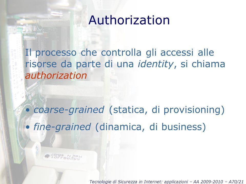 Tecnologie di Sicurezza in Internet: applicazioni – AA 2009-2010 – A70/21 Authorization Il processo che controlla gli accessi alle risorse da parte di una identity, si chiama authorization coarse-grained (statica, di provisioning) fine-grained (dinamica, di business)