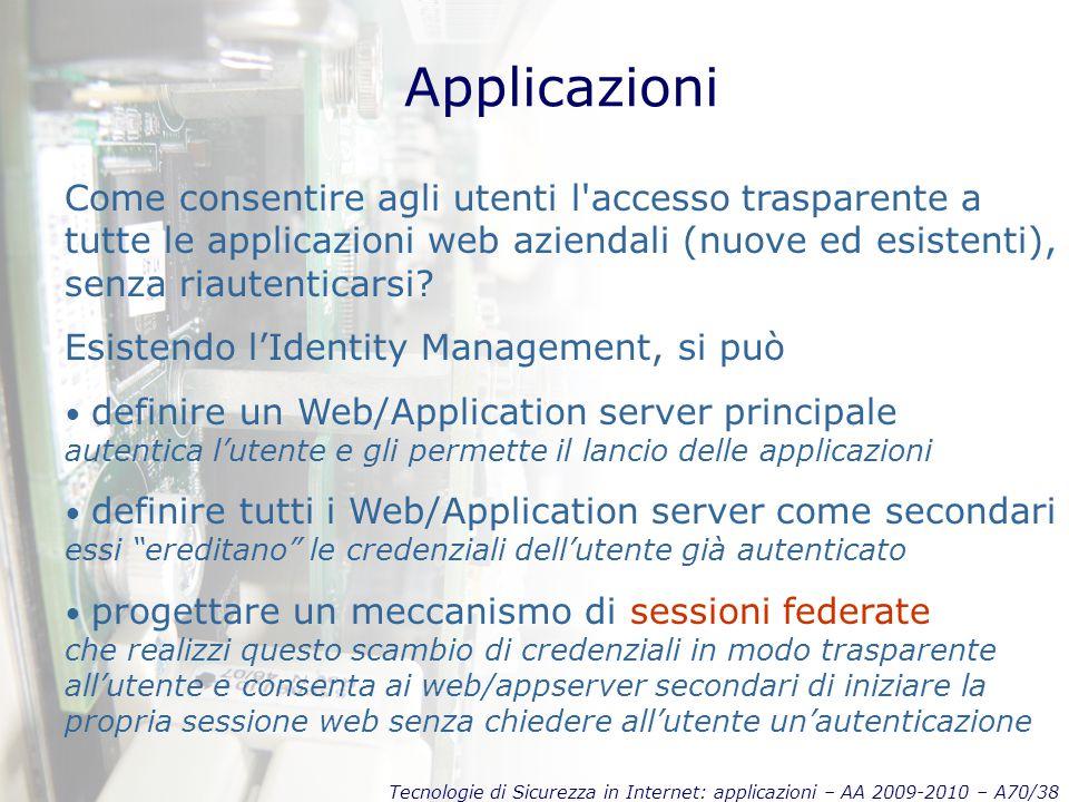 Tecnologie di Sicurezza in Internet: applicazioni – AA 2009-2010 – A70/38 Applicazioni Come consentire agli utenti l accesso trasparente a tutte le applicazioni web aziendali (nuove ed esistenti), senza riautenticarsi.