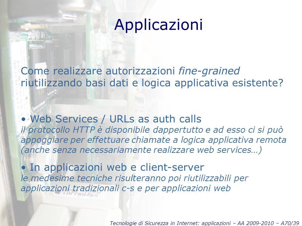 Tecnologie di Sicurezza in Internet: applicazioni – AA 2009-2010 – A70/39 Applicazioni Come realizzare autorizzazioni fine-grained riutilizzando basi dati e logica applicativa esistente.