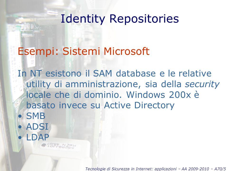 Tecnologie di Sicurezza in Internet: applicazioni – AA 2009-2010 – A70/5 Identity Repositories Esempi: Sistemi Microsoft In NT esistono il SAM database e le relative utility di amministrazione, sia della security locale che di dominio.