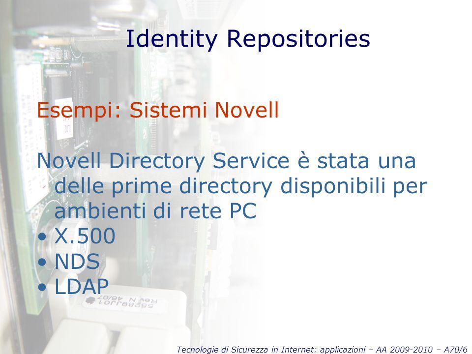 Tecnologie di Sicurezza in Internet: applicazioni – AA 2009-2010 – A70/6 Identity Repositories Esempi: Sistemi Novell Novell Directory Service è stata una delle prime directory disponibili per ambienti di rete PC X.500 NDS LDAP