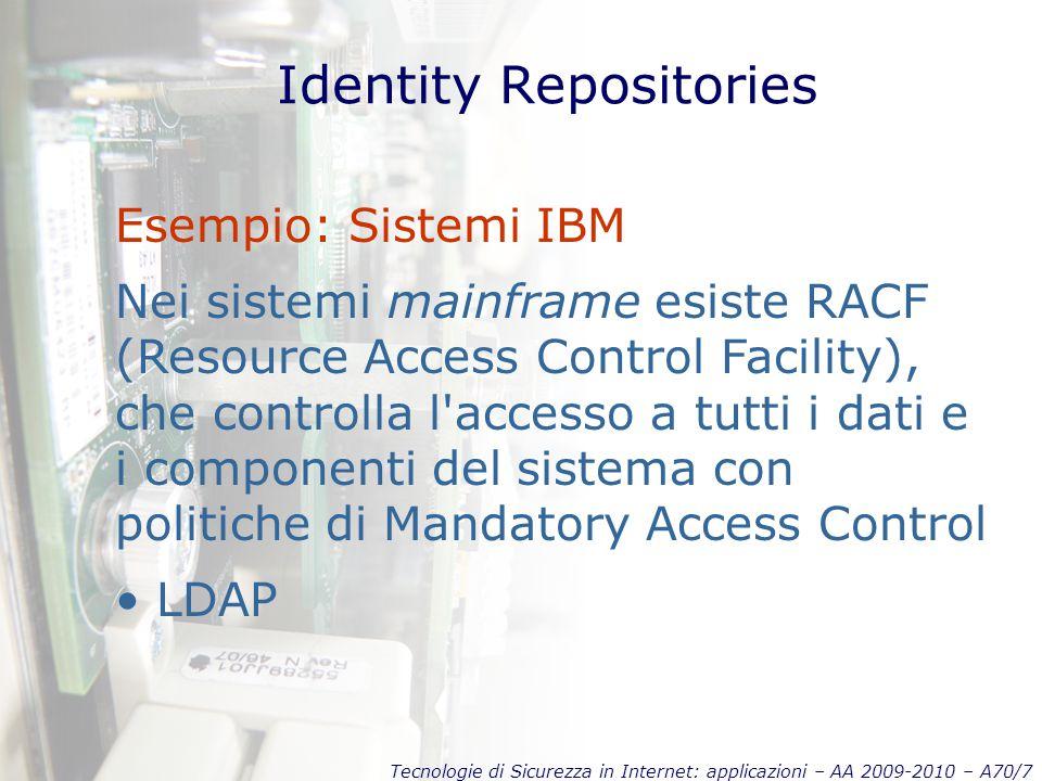 Tecnologie di Sicurezza in Internet: applicazioni – AA 2009-2010 – A70/7 Identity Repositories Esempio: Sistemi IBM Nei sistemi mainframe esiste RACF (Resource Access Control Facility), che controlla l accesso a tutti i dati e i componenti del sistema con politiche di Mandatory Access Control LDAP