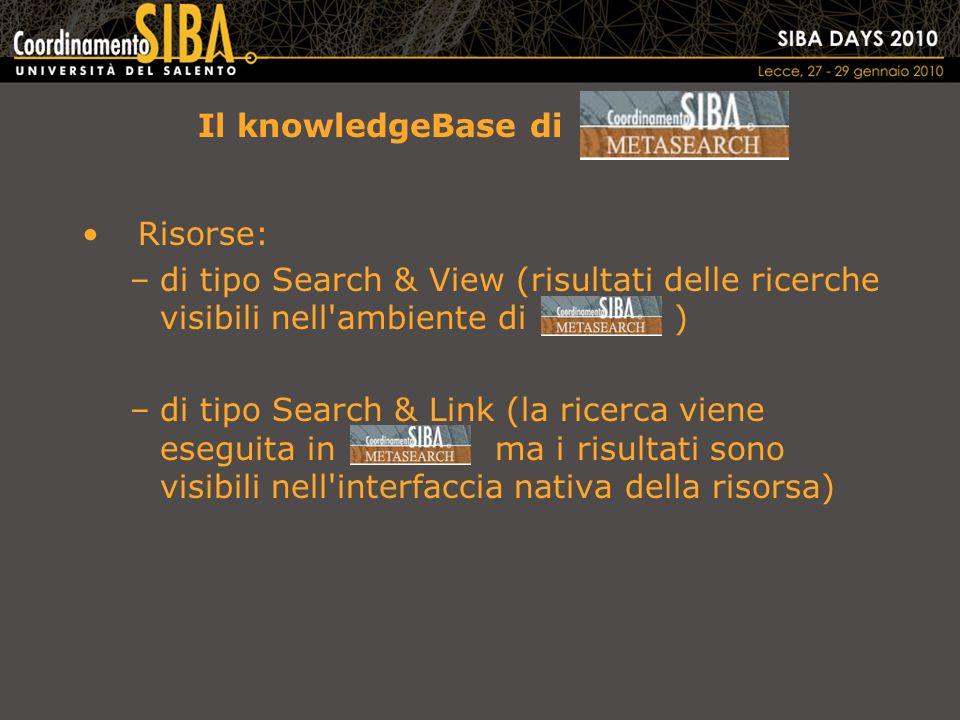 Il knowledgeBase di Risorse: –di tipo Search & View (risultati delle ricerche visibili nell ambiente di ) –di tipo Search & Link (la ricerca viene eseguita in ma i risultati sono visibili nell interfaccia nativa della risorsa)