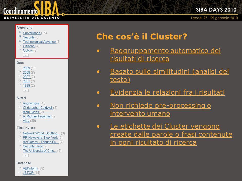 Che cos'è il Cluster.