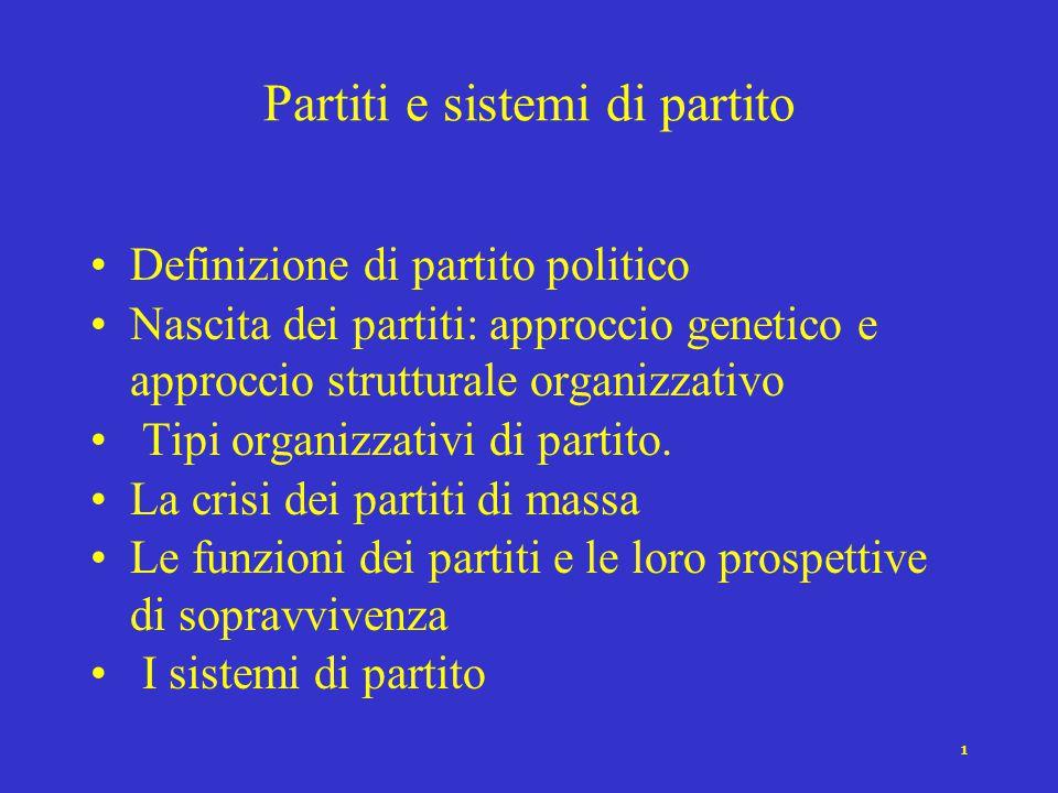 1 Partiti e sistemi di partito Definizione di partito politico Nascita dei partiti: approccio genetico e approccio strutturale organizzativo Tipi organizzativi di partito.