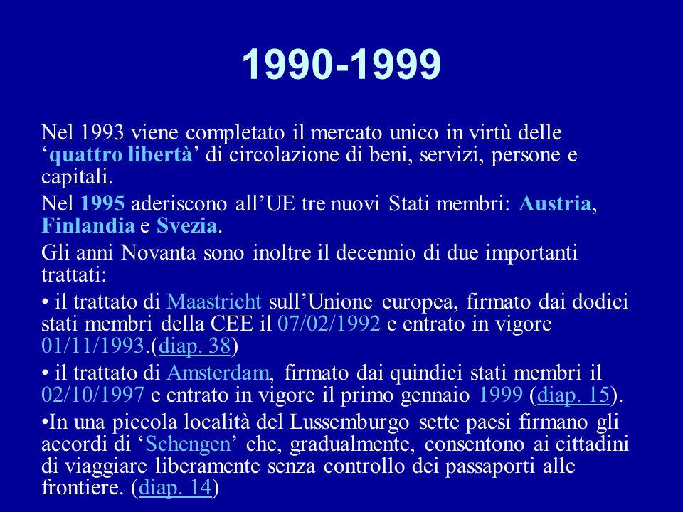 1990-1999 Nel 1993 viene completato il mercato unico in virtù delle 'quattro libertà' di circolazione di beni, servizi, persone e capitali. Nel 1995 a