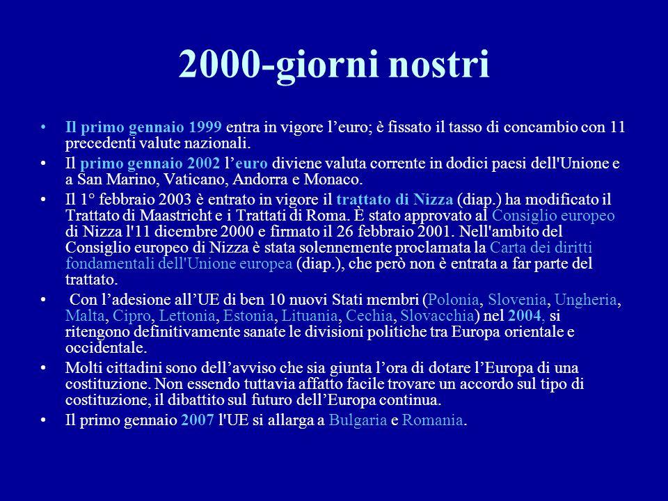 2000-giorni nostri Il primo gennaio 1999 entra in vigore l'euro; è fissato il tasso di concambio con 11 precedenti valute nazionali. Il primo gennaio