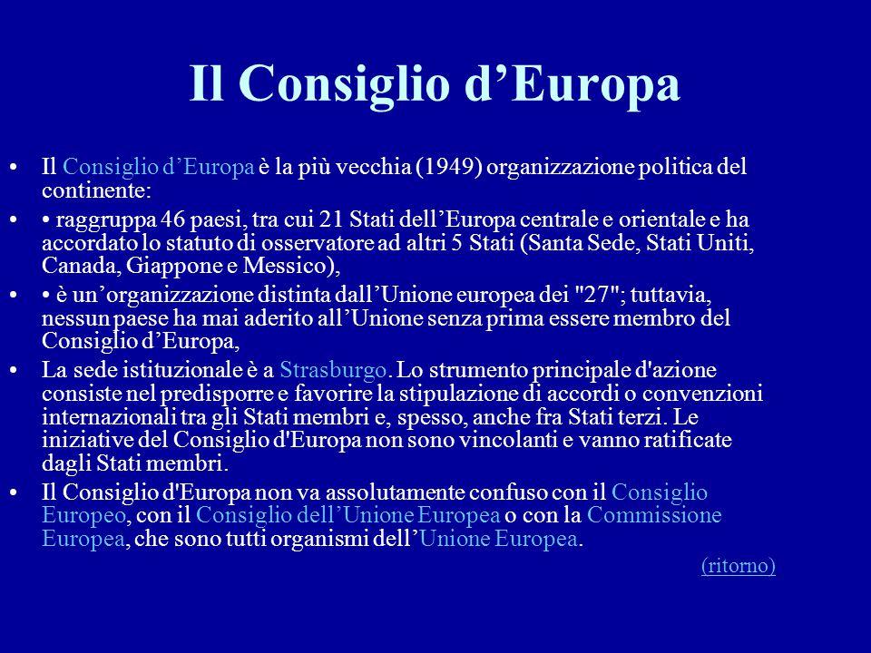Il Consiglio d'Europa Il Consiglio d'Europa è la più vecchia (1949) organizzazione politica del continente: raggruppa 46 paesi, tra cui 21 Stati dell'