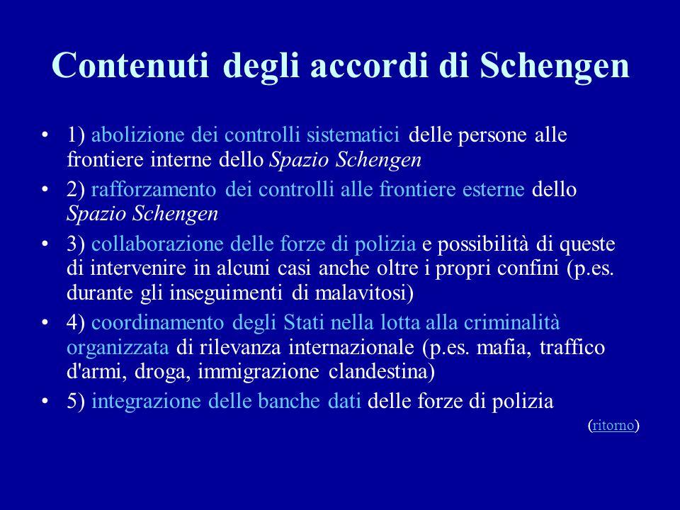 Contenuti degli accordi di Schengen 1) abolizione dei controlli sistematici delle persone alle frontiere interne dello Spazio Schengen 2) rafforzament