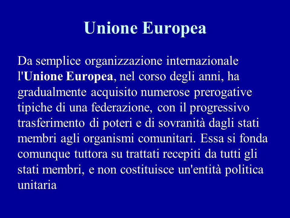 Unione Europea Da semplice organizzazione internazionale l'Unione Europea, nel corso degli anni, ha gradualmente acquisito numerose prerogative tipich