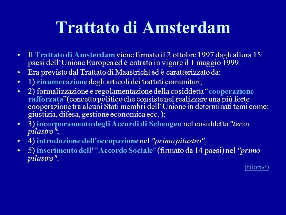 Trattato di Amsterdam Il Trattato di Amsterdam viene firmato il 2 ottobre 1997 dagli allora 15 paesi dell'Unione Europea ed è entrato in vigore il 1 m