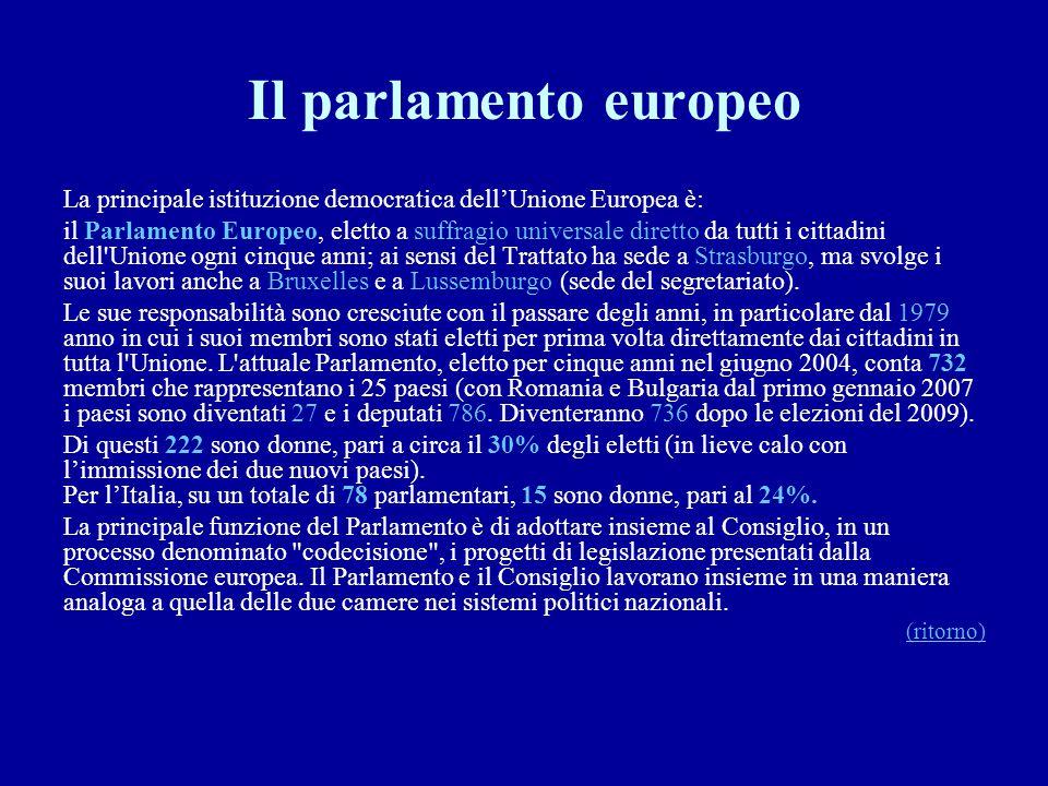 Il parlamento europeo La principale istituzione democratica dell'Unione Europea è: il Parlamento Europeo, eletto a suffragio universale diretto da tut