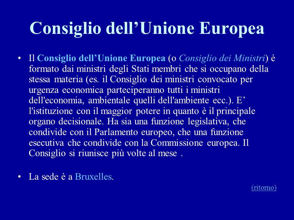 Consiglio dell'Unione Europea Il Consiglio dell'Unione Europea (o Consiglio dei Ministri) è formato dai ministri degli Stati membri che si occupano de