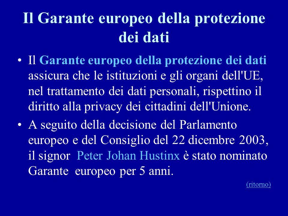 Il Garante europeo della protezione dei dati Il Garante europeo della protezione dei dati assicura che le istituzioni e gli organi dell'UE, nel tratta