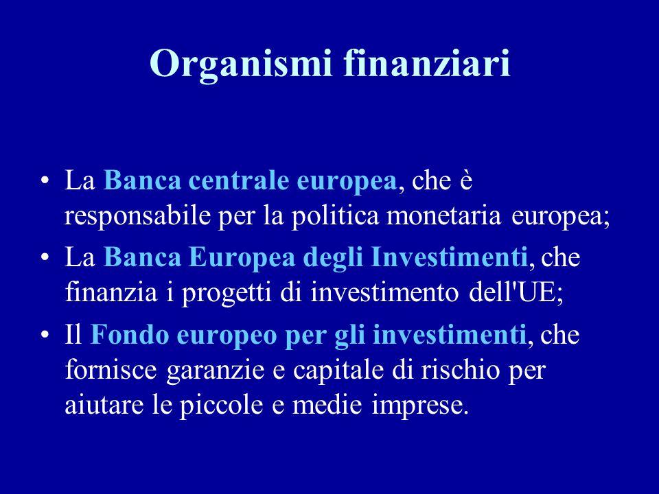 Organismi finanziari La Banca centrale europea, che è responsabile per la politica monetaria europea; La Banca Europea degli Investimenti, che finanzi