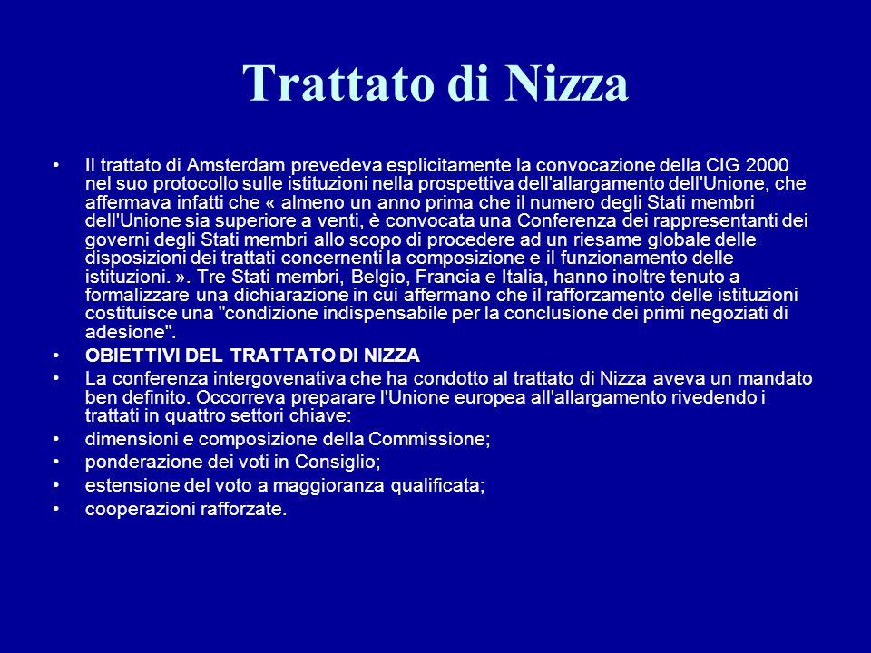 Trattato di Nizza Il trattato di Amsterdam prevedeva esplicitamente la convocazione della CIG 2000 nel suo protocollo sulle istituzioni nella prospett