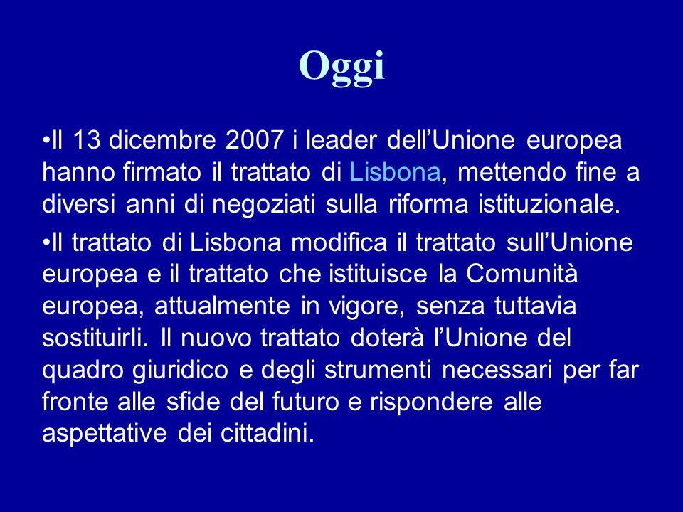 Oggi Il 13 dicembre 2007 i leader dell'Unione europea hanno firmato il trattato di Lisbona, mettendo fine a diversi anni di negoziati sulla riforma is