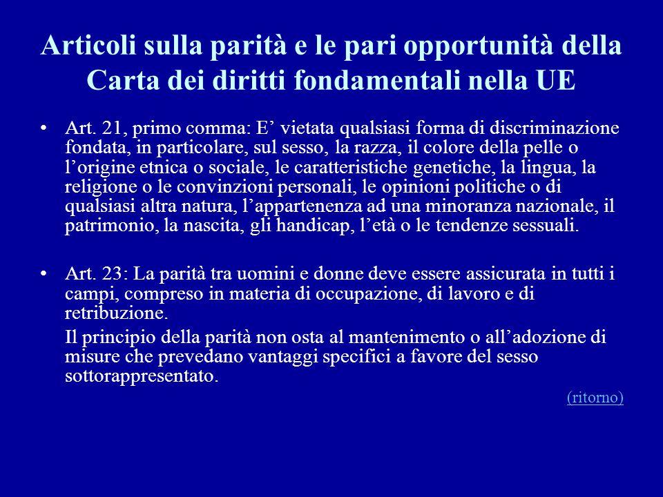 Articoli sulla parità e le pari opportunità della Carta dei diritti fondamentali nella UE Art. 21, primo comma: E' vietata qualsiasi forma di discrimi