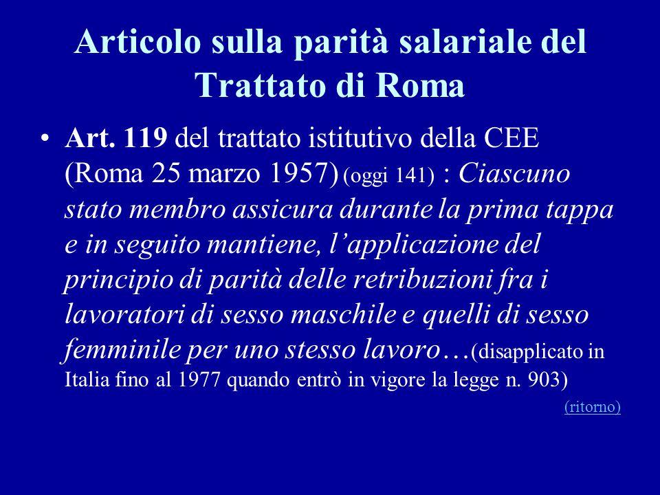 Articolo sulla parità salariale del Trattato di Roma Art. 119 del trattato istitutivo della CEE (Roma 25 marzo 1957) (oggi 141) : Ciascuno stato membr