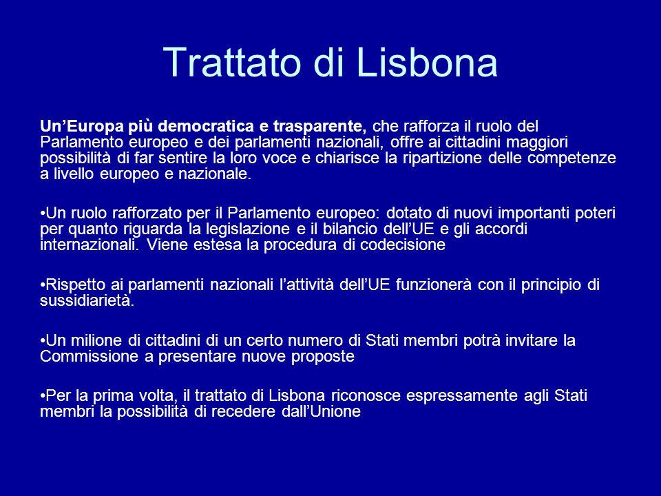Trattato di Lisbona Un'Europa più democratica e trasparente, che rafforza il ruolo del Parlamento europeo e dei parlamenti nazionali, offre ai cittadi