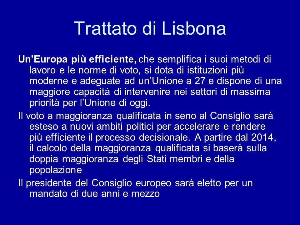 Trattato di Lisbona Un'Europa di diritti e valori, di libertà, solidarietà e sicurezza, che promuove i valori dell'Unione, integra la Carta dei diritti fondamentali nel diritto primario europeo, prevede nuovi meccanismi di solidarietà e garantisce una migliore protezione dei cittadini europei.