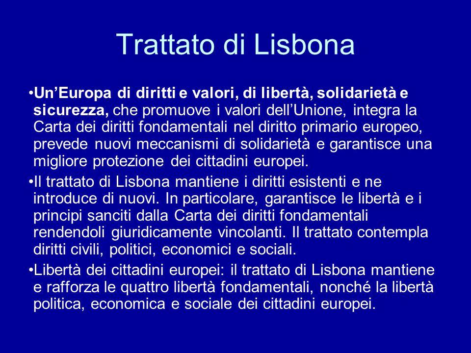 Trattato di Lisbona Un'Europa di diritti e valori, di libertà, solidarietà e sicurezza, che promuove i valori dell'Unione, integra la Carta dei diritt