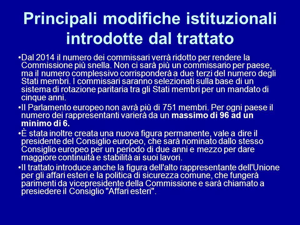 Principali modifiche istituzionali introdotte dal trattato Dal 2014 il numero dei commissari verrà ridotto per rendere la Commissione più snella. Non