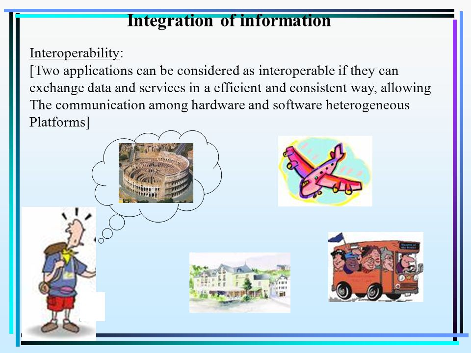 Integration of information Interoperability: [Two applications can be considered as interoperable if they can exchange data and services in a efficient and consistent way, allowing The communication among hardware and software heterogeneous Platforms]