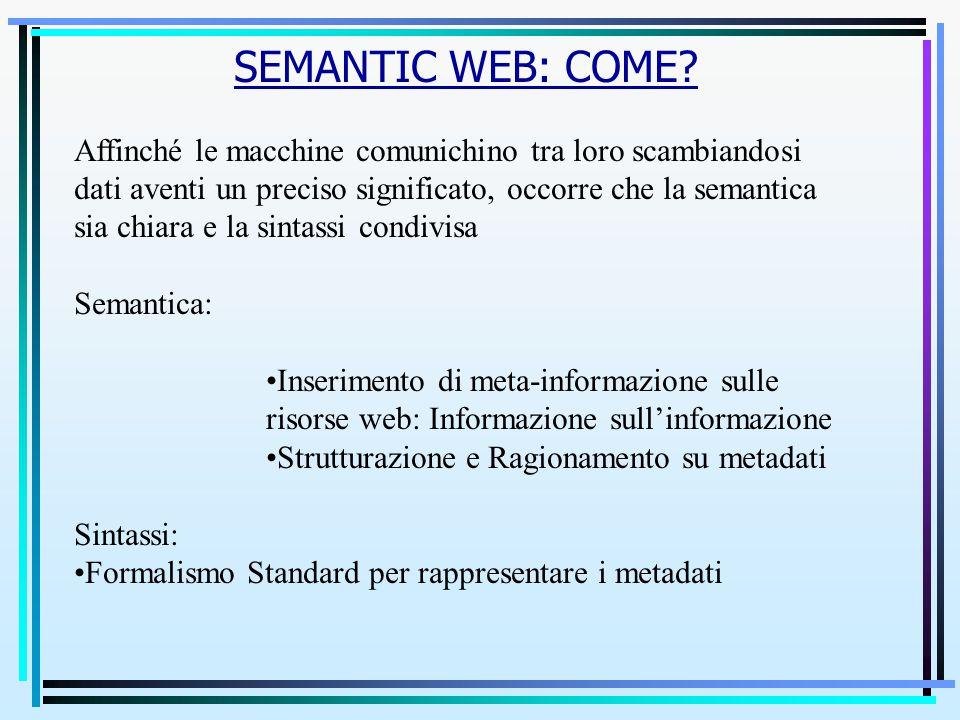 SEMANTIC WEB: COME? Affinché le macchine comunichino tra loro scambiandosi dati aventi un preciso significato, occorre che la semantica sia chiara e l