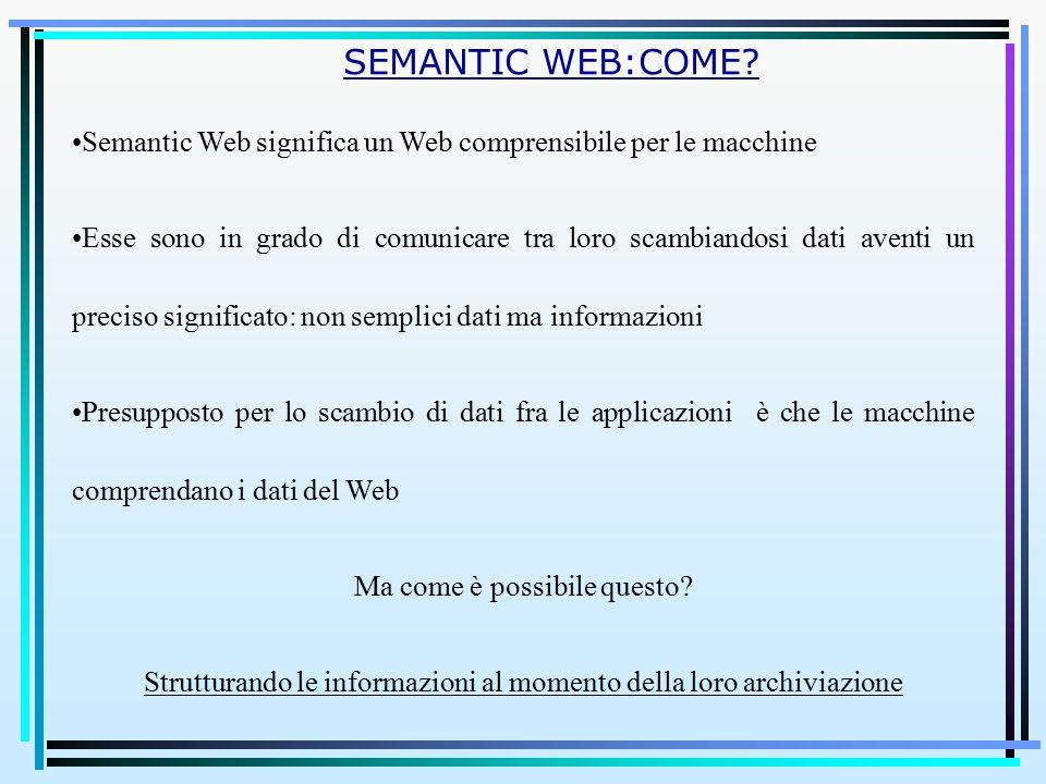 Semantic Web significa un Web comprensibile per le macchine Esse sono in grado di comunicare tra loro scambiandosi dati aventi un preciso significato: non semplici dati ma informazioni Presupposto per lo scambio di dati fra le applicazioni è che le macchine comprendano i dati del Web Ma come è possibile questo.