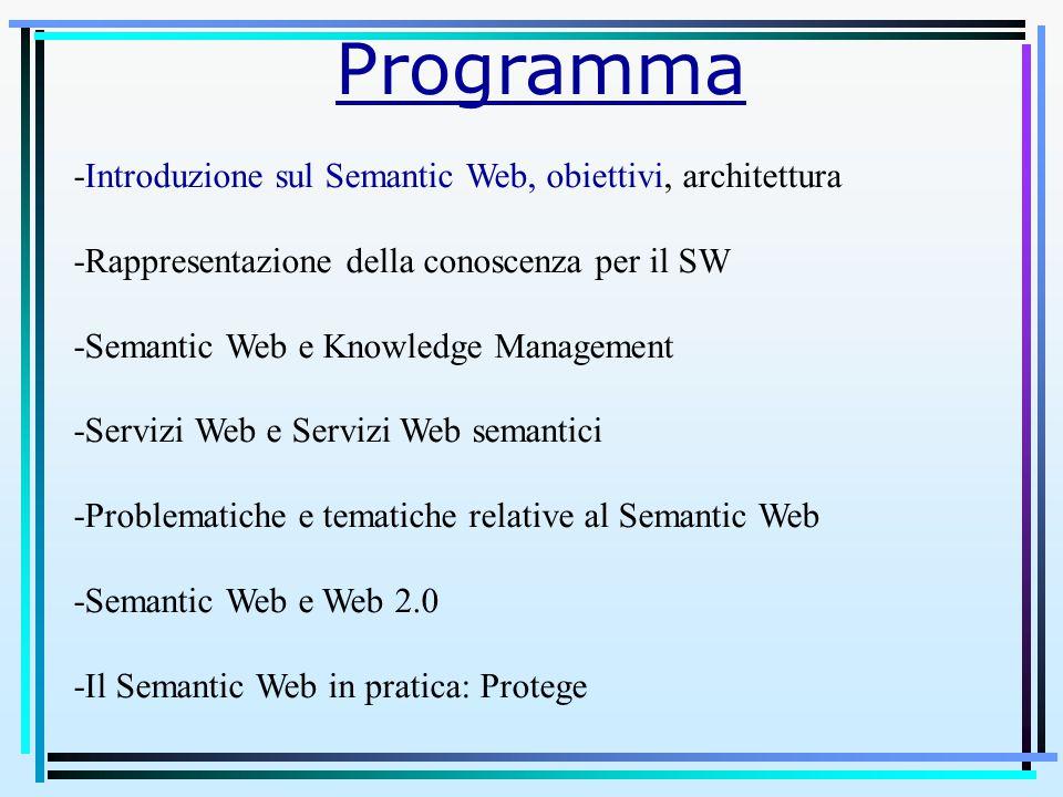 Programma -Introduzione sul Semantic Web, obiettivi, architettura -Rappresentazione della conoscenza per il SW -Semantic Web e Knowledge Management -Servizi Web e Servizi Web semantici -Problematiche e tematiche relative al Semantic Web -Semantic Web e Web 2.0 -Il Semantic Web in pratica: Protege