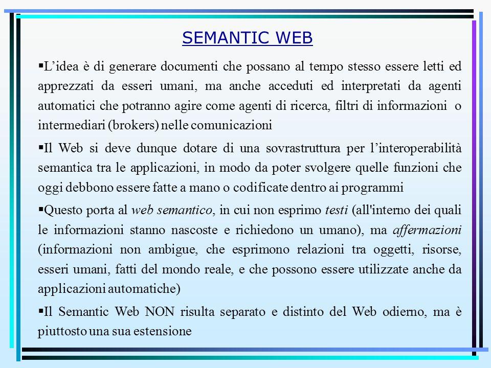  L'idea è di generare documenti che possano al tempo stesso essere letti ed apprezzati da esseri umani, ma anche acceduti ed interpretati da agenti automatici che potranno agire come agenti di ricerca, filtri di informazioni o intermediari (brokers) nelle comunicazioni  Il Web si deve dunque dotare di una sovrastruttura per l'interoperabilità semantica tra le applicazioni, in modo da poter svolgere quelle funzioni che oggi debbono essere fatte a mano o codificate dentro ai programmi  Questo porta al web semantico, in cui non esprimo testi (all interno dei quali le informazioni stanno nascoste e richiedono un umano), ma affermazioni (informazioni non ambigue, che esprimono relazioni tra oggetti, risorse, esseri umani, fatti del mondo reale, e che possono essere utilizzate anche da applicazioni automatiche)  Il Semantic Web NON risulta separato e distinto del Web odierno, ma è piuttosto una sua estensione SEMANTIC WEB