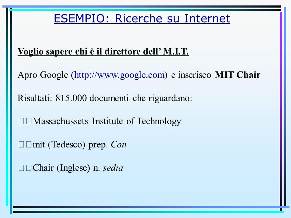 ESEMPIO: Ricerche su Internet Voglio sapere chi è il direttore dell' M.I.T. Apro Google (http://www.google.com) e inserisco MIT Chair Risultati: 815.0