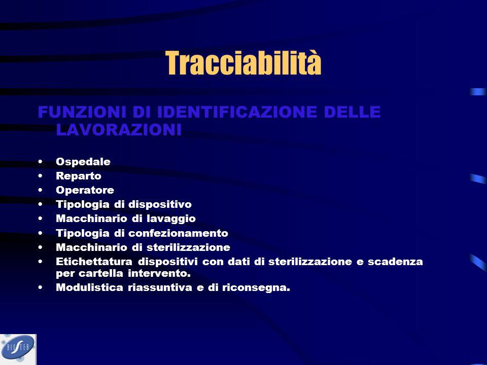 Tracciabilità FUNZIONI DI IDENTIFICAZIONE DELLE LAVORAZIONI Ospedale Reparto Operatore Tipologia di dispositivo Macchinario di lavaggio Tipologia di c