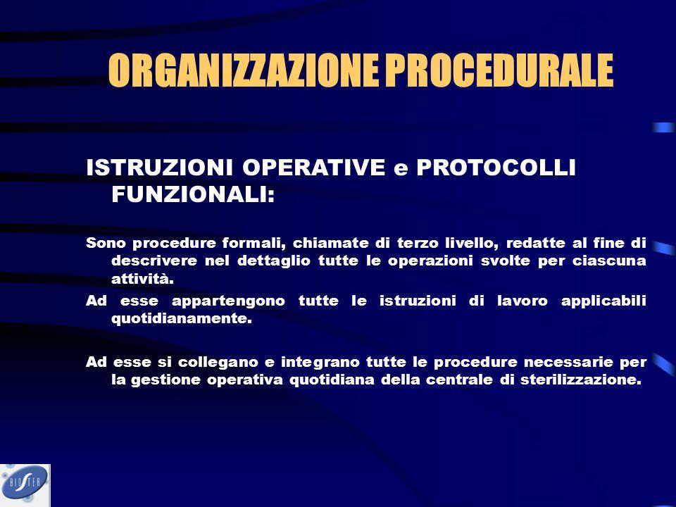 ISTRUZIONI OPERATIVE e PROTOCOLLI FUNZIONALI: Sono procedure formali, chiamate di terzo livello, redatte al fine di descrivere nel dettaglio tutte le