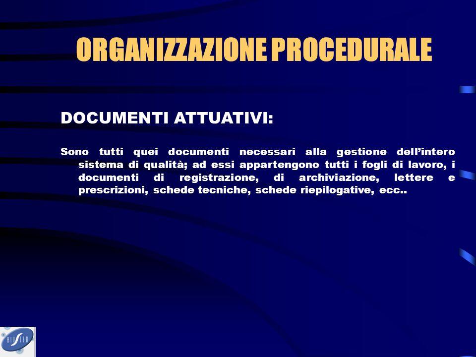 DOCUMENTI ATTUATIVI: Sono tutti quei documenti necessari alla gestione dell'intero sistema di qualità; ad essi appartengono tutti i fogli di lavoro, i