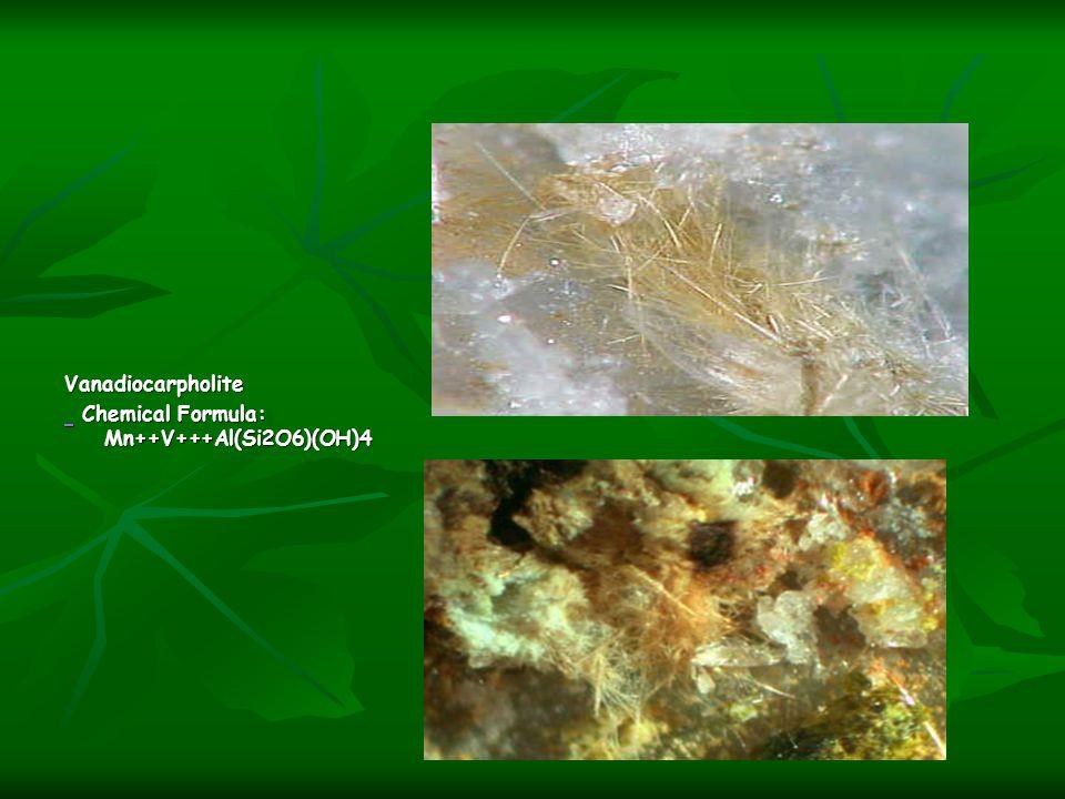 Vanadiocarpholite Chemical Formula: Mn++V+++Al(Si2O6)(OH)4 Chemical Formula: Mn++V+++Al(Si2O6)(OH)4