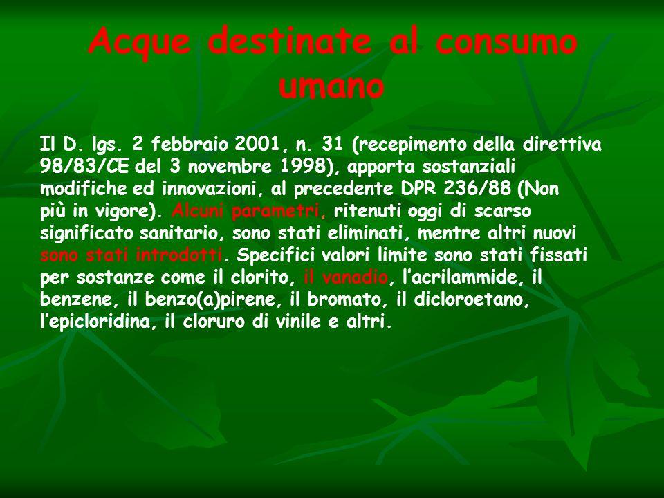 Acque destinate al consumo umano Il D. lgs. 2 febbraio 2001, n. 31 (recepimento della direttiva 98/83/CE del 3 novembre 1998), apporta sostanziali mod