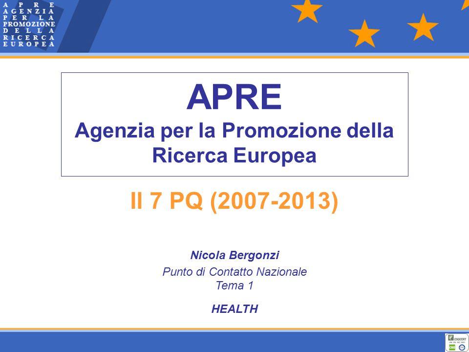 APRE Agenzia per la Promozione della Ricerca Europea Il 7 PQ (2007-2013) Nicola Bergonzi Punto di Contatto Nazionale Tema 1 HEALTH
