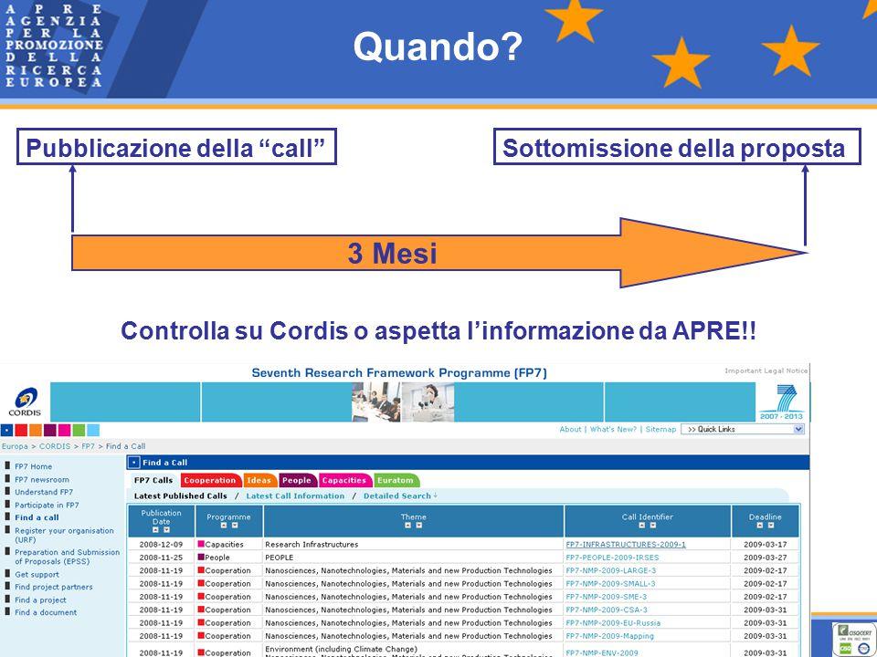 Quando. Pubblicazione della call 3 Mesi Controlla su Cordis o aspetta l'informazione da APRE!.