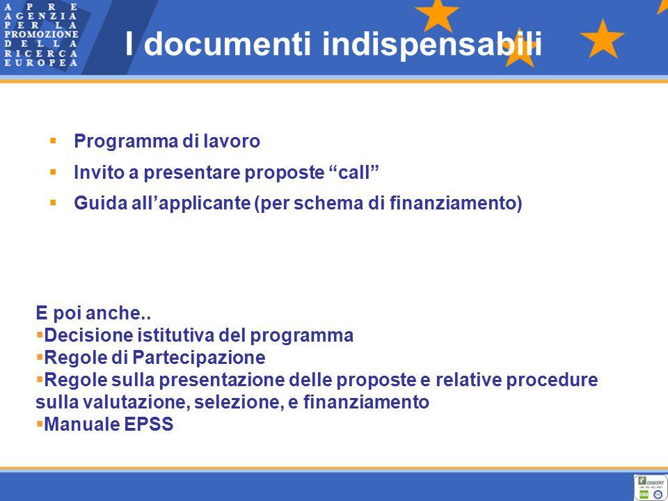I documenti indispensabili  Programma di lavoro  Invito a presentare proposte call  Guida all'applicante (per schema di finanziamento) E poi anche..