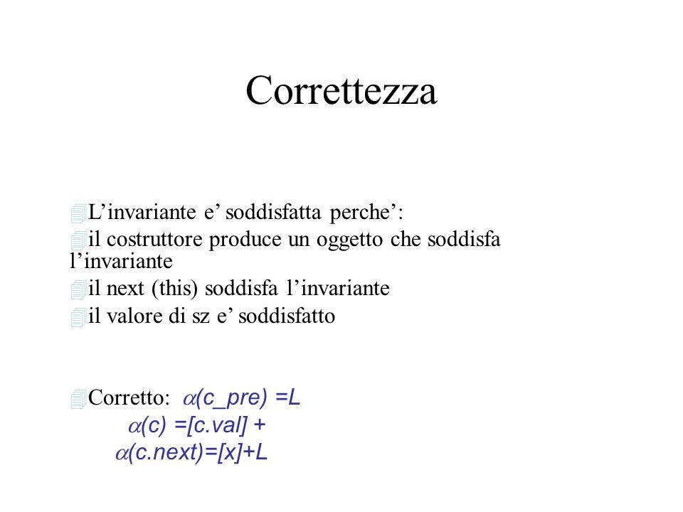 Correttezza 4 L'invariante e' soddisfatta perche': 4 il costruttore produce un oggetto che soddisfa l'invariante 4 il next (this) soddisfa l'invariante 4 il valore di sz e' soddisfatto  Corretto:  (c_pre) =L  (c) =[c.val] +  (c.next)=[x]+L