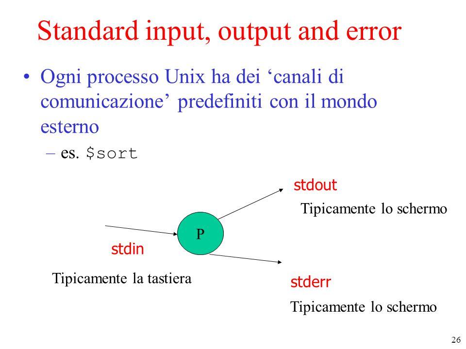 26 Standard input, output and error Ogni processo Unix ha dei 'canali di comunicazione' predefiniti con il mondo esterno –es.