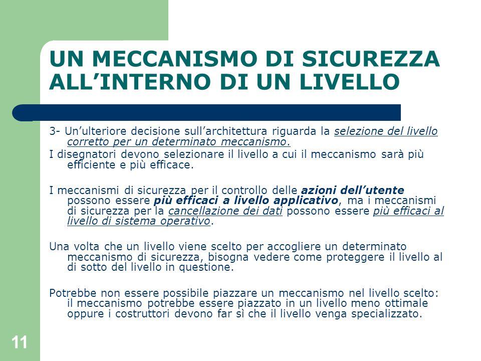 11 UN MECCANISMO DI SICUREZZA ALL'INTERNO DI UN LIVELLO 3- Un'ulteriore decisione sull'architettura riguarda la selezione del livello corretto per un determinato meccanismo.
