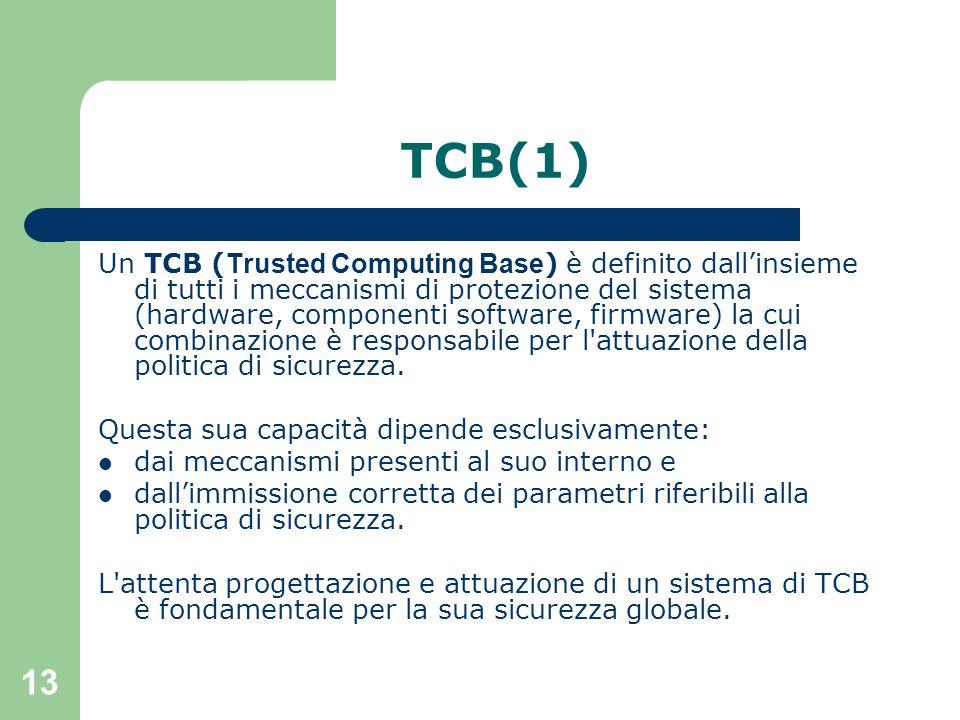 13 TCB(1) Un TCB ( Trusted Computing Base ) è definito dall'insieme di tutti i meccanismi di protezione del sistema (hardware, componenti software, firmware) la cui combinazione è responsabile per l attuazione della politica di sicurezza.