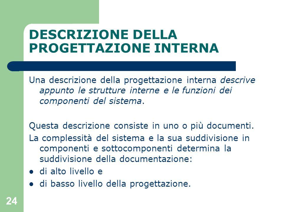 24 DESCRIZIONE DELLA PROGETTAZIONE INTERNA Una descrizione della progettazione interna descrive appunto le strutture interne e le funzioni dei componenti del sistema.